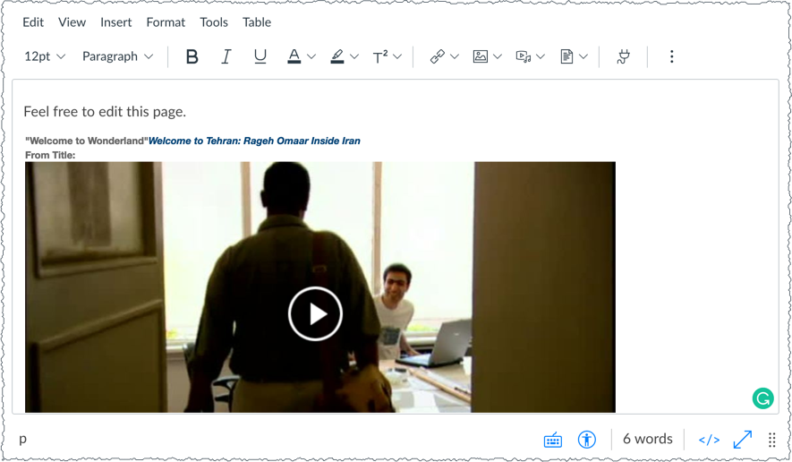 Canvas Rich Content Editor with embedded Films On Demand video