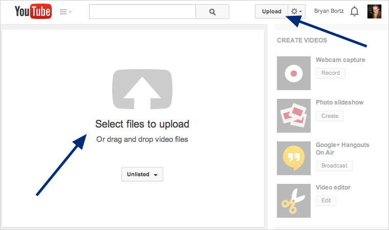 YouTube Homepage / Upload