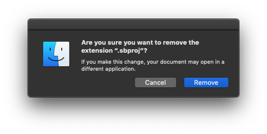 Remove file extension confirmation dialog