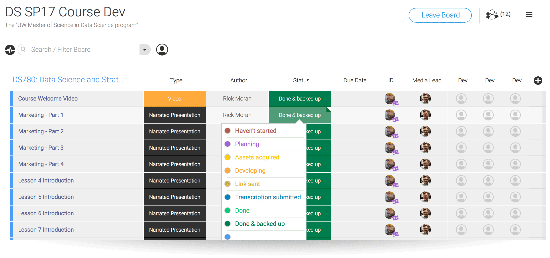 Screenshot of a board in Monday.com
